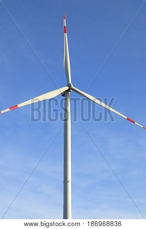 high wind wheel with blue sky background