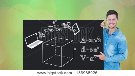 Digital composite of Man pointing at diagrams and formulas on bill board