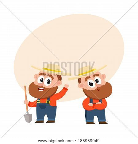 Two funny farmer, gardener characters in straw hat and overalls, holding shovel, arms crossed on breast, cartoon vector illustration with space for text. Couple of comic farmer characters
