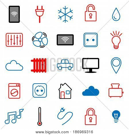 Set of 25 icons. Internet of things. Smart house. Smart home