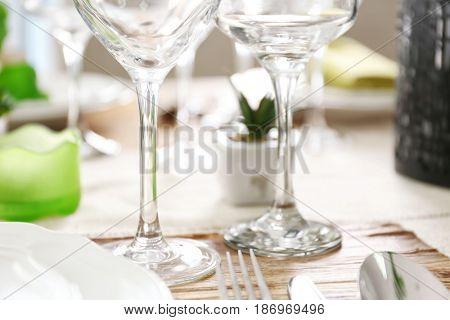 Empty wineglasses on table, closeup