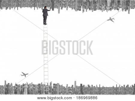 up side down city. planes and business men with ladder crossing to the up down city