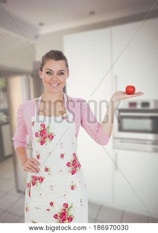 Digital composite of Housewife showing apple