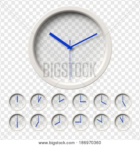 Realistic Wall Clocks set. Transparent face. One clock for every hour. Blue hands. Ready to apply. Graphic element for documents, templates, posters, flyers. Vector illustration.