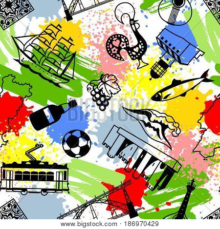 Portugal seamless pattern. Portuguese national traditional symbols and objects.