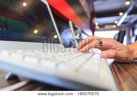 Hand of user computer in net cafe