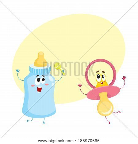Funny baby dummy, pacifier and milk, feeding bottle characters, child care concept, cartoon vector illustration with space e for text. Baby pacifier, dummy and milk bottle character, mascot