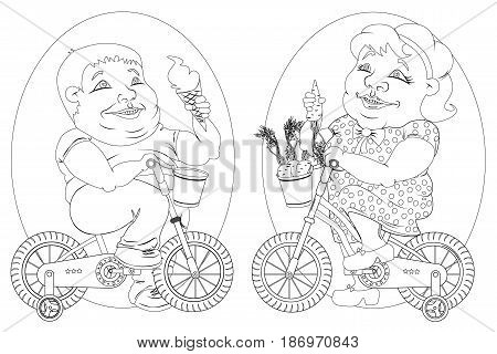 two very fat people - the twins the woman in the polka dot dress with a carrot in hand and a man in jeans and a t-shirt with ice cream in hand sitting on children s bikes. black and white drawing for coloring.