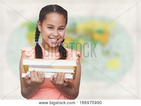 Digital composite of Girl with books against blurry map