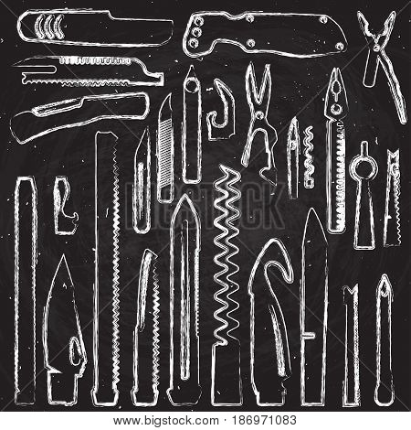 Set of multifunction knife elements, Isolated hand draw and sketch vector illustration on chalkboard