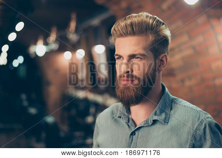 Close Up Of A Stunning Look Of A Red Bearded Guy With Trendy Hairdo In A Barber Shop. Looking So Fas