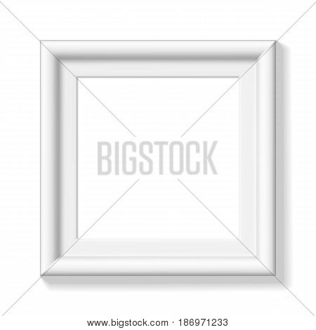 White square picture frame. Wide frame or small picture. Minimalistic photo realistic frame. Graphic design element for scrapbooking, art work presentation, web, flyers, posters. Vector illustration.
