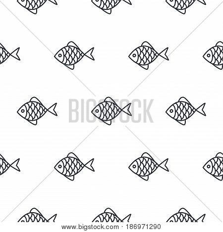 Fish line icon seamless vector pattern. Food outline tileable white monochrome background.