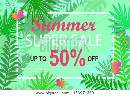 Summer super sale background with butterflies and tropical leaves. Vector illustration template and banners, wallpaper, flyers, invitation, posters, brochure, voucher discount.
