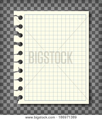 Empty checkered note book page with torn edge. Notepaper mockup. Graphic design element for text, advertisement, math, doodle, sketch, scrapbooking. Checkers paper piece. Realistic vector illustration