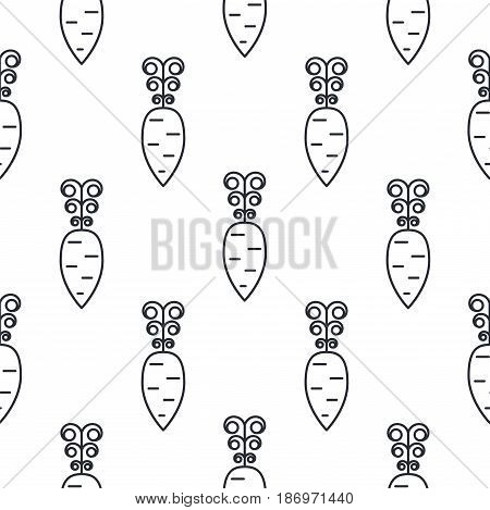 Carrot line icon seamless vector pattern. Vegetable outline tileable white monochrome background.