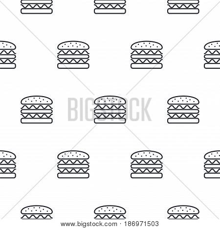 Burger line icon seamless vector pattern. Fast food outline tileable white monochrome background.