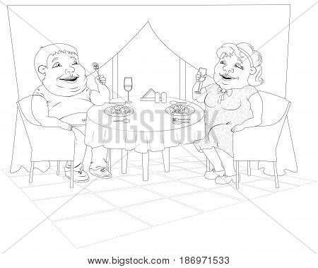 A fat woman in a polka-dot dress and a fat man in jeans are sitting in a restaurant eating broccoli and drinking wine. Black and white image