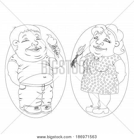 two very fat people - the twins the woman in the polka dot dress with a carrot in his hand a man in jeans and a t-shirt with ice cream in hand standing together. black and white drawing for coloring.