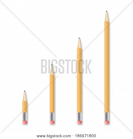 Set of four realistic drawing pencils with rubber end. Sharpened yellow pencil. Detailed graphic design element. Office supply, school stationwry. Isolated on white background. Vector illustration