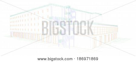 A drawing of a building with exterior stairs 3d