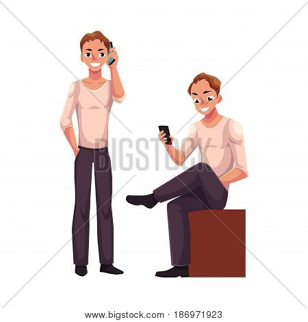 Young man talking by mobile phone standing, using smartphone, messaging sitting, cartoon vector illustration isolated on white background. Young man using mobile phone while standing and sitting
