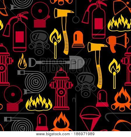 Seamless pattern with firefighting items. Fire protection equipment.
