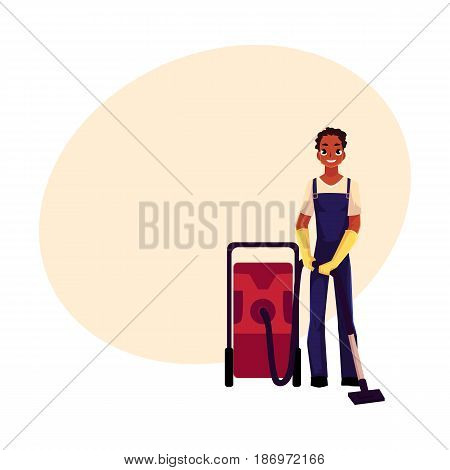 Black cleaning service boy, man in overalls with professional vacuum cleaner, cartoon vector illustration with space for text. African black cleaning service boy doing vacuum cleaning