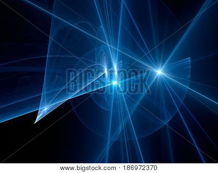 Blue glowing spiral trajectories in space futuristic technology computer generated abstract background 3D rendering