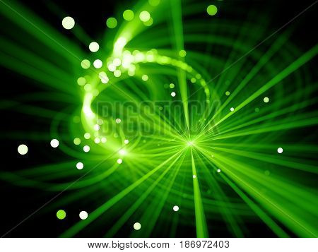 Green glowing star explosion with particles in space depth of field bokeh computer generated abstract background 3D rendering