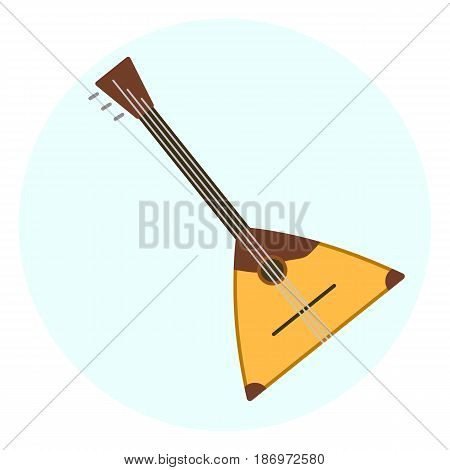 Flat vector balalaika icon russian music instrument