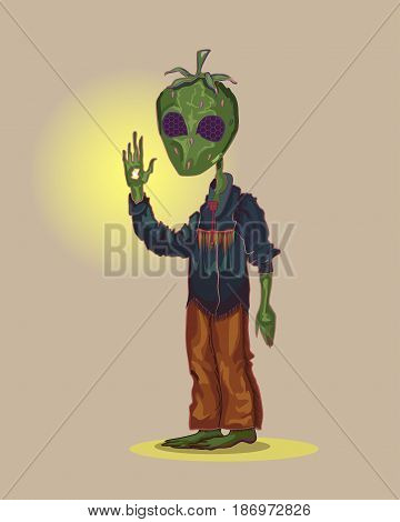 A strange creature with the head in the form of green strawberries and with compound eyes is. He is dressed in a denim shirt and brown pants in an Indian style. He raised his hand around her glow.