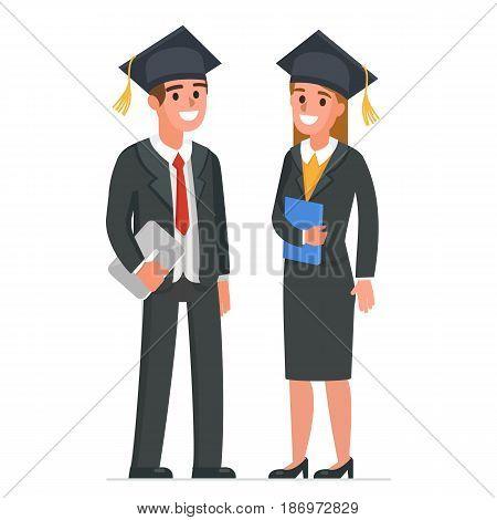 Businessman and businesswoman wearing academic cap. Vector illustration.
