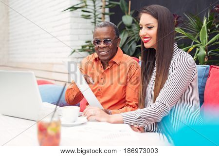Young beautiful Multiracial business people closeup picture