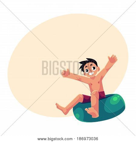 Kid, boy, child riding swim ring, enjoying summer water activities, cartoon vector illustration with space for text. Full length portrait of boy, riding inflatable swim ring