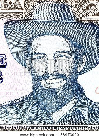 Camilo Cienfuegos Gorriaran portrait from Cuban money