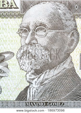 Maximo Gomez portrait from Cuban money - peso