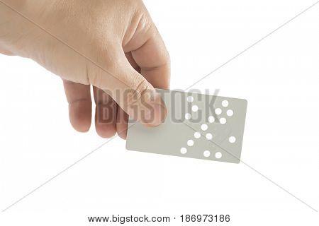 Hand Holding Magnet Hotel Key Isolated