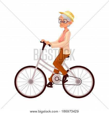 Stylish elder woman, old lady riding a bicycle, cycling, cartoon vector illustration isolated on white background. Full length, side view portrait of retired woman, old lady riding a bicycle, cycling