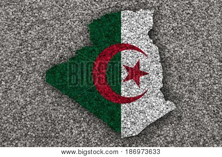 Map And Flag Of Algeria On Poppy Seeds