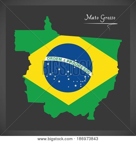 Mato Grosso Map With Brazilian National Flag Illustration