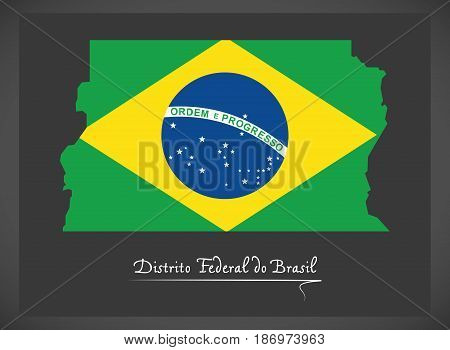 Distrito Federal Do Brasil Map With Brazilian National Flag Illustration