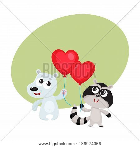 Cute and funny bear and raccoon holding red heart shaped balloon, cartoon vector illustration with space for text. Bear and raccoon holding heart balloon, birthday greeting decoration elements