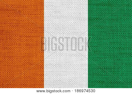 Flag Of Ivory Coast On Old Linen