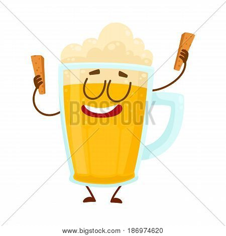 Funny beer glass mug character with smiling human face holding croutons, cartoon vector illustration isolated on white background. Cute and funny lager beer mug character, mascot with croutons