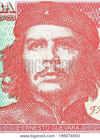 Ernesto Che Guevara portrait from Cuban money