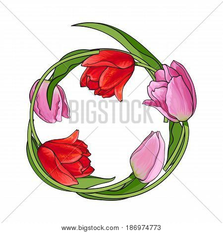Round frame of red and pink tulip flowers with place for text, sketch vector illustration isolated on white background. Greeting card, banner template, decoration with round frame of hand drawn tulips