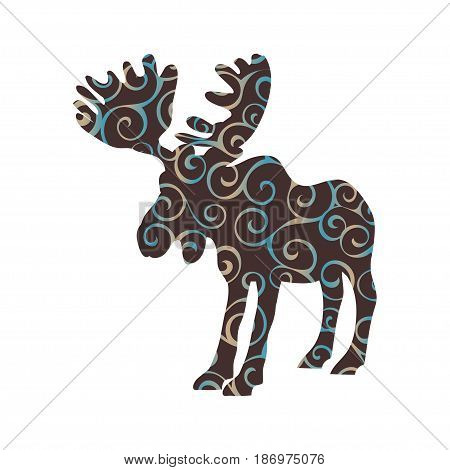 Elk mammal color silhouette animal. Vector Illustrator.