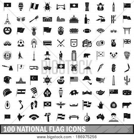 100 national flag icons set in simple style for any design vector illustration