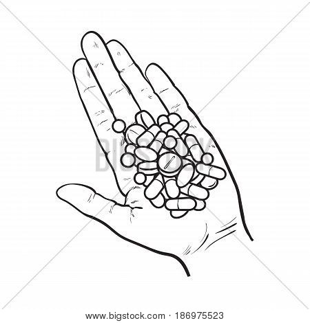 Hand holding pile of pills, tablets in open palm with straight fingers, black and white sketch style vector illustration on white background. Hand drawn hand holding many pills, medicine in open palm